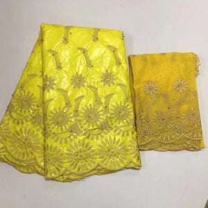 Latest Bazin/ brocade set  ( 5 yards Bazin + 2 yards net lace, total 7 yards
