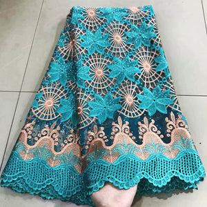 lovely with rhinestones&beads african guipure lace beaded net fabric 5 yards top brode african cord lace fabric for party dress