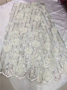 peach Organza 3d Lace FabricWith Sequins 5yard/lot Beaded 3d Net Lace Fabrics The New Listing Swiss Lace Fabric 2017 with Beads