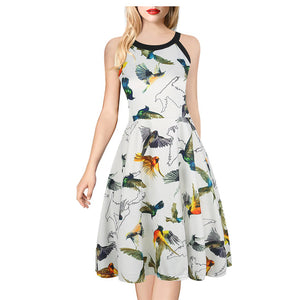 Oxiuly Womens Mini A Line Dresses New Arrival Ladies Wear Sleeveless Black Halter Neck Floral Print Vintage Dress