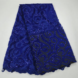 royal blue African Lace Fabric High Quality African Tulle Lace Fabric With Sequins Velvet French Net Lace For Women Dress QA250