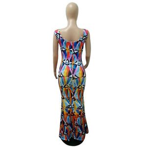 women african fashion digital print dress new nightclub sleeveless skirt dress H9256