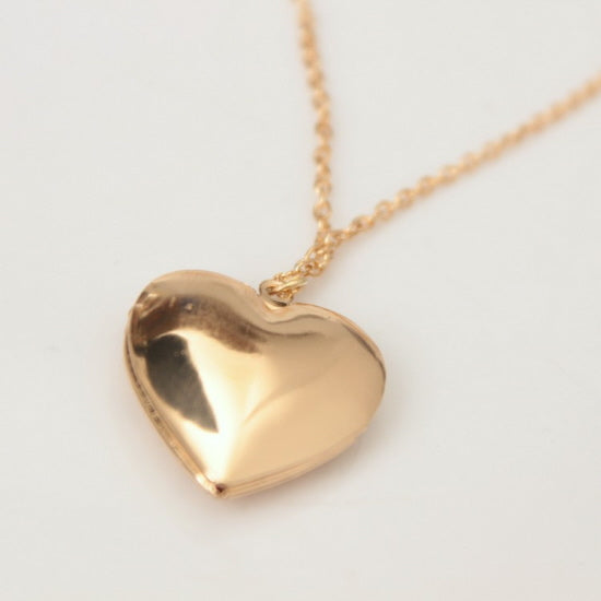 Fashion love heart shaped locket necklace available in gold or gold heart locket pendant necklace aloadofball Gallery