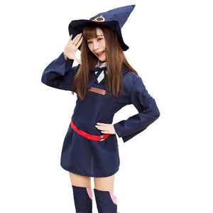 cd2d536e44d Girl wearing anime style witch cosplay including witch hat and red belt.