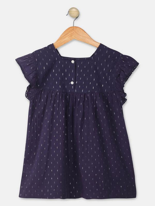 Mini Macroons Gilrs Navy Blue color Printed Top casual Wear