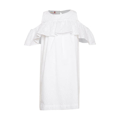 White Cotton Schiffli Dress