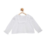 Mini Macroons Girls Summer White Top 100% Viscose Crepe Full Sleeves