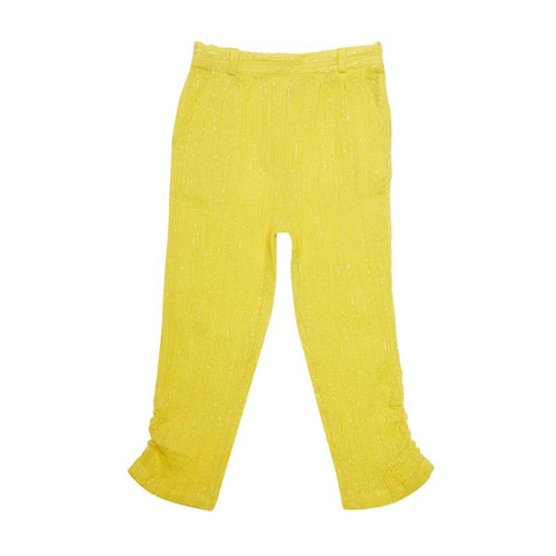 Mini Macroons Funky Yellow Girls Trouser 100% Viscose Crepe