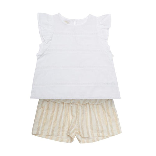 Mini Macroons White color Top with Printed Shorts for Girls 100% Cotton