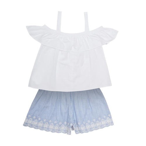 Mini Macroons girls white top with blue shorts 100% cotton for 2 to 15 years
