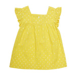 Mini Macroons Yellow Girls Half Sleeves Summer Top