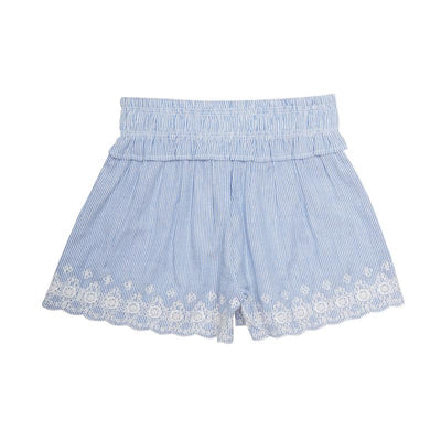 Mini Macroons white color Top with Blue Printed  Shorts for Girls 100% Cotton