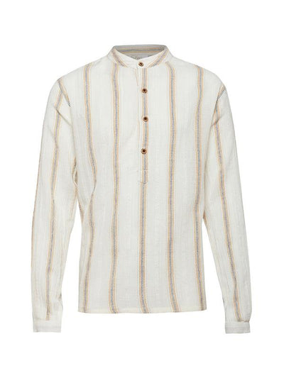Mini Macroons White Color Stripped Shirt For Boys with Chinese Color
