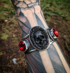 MEDIUM Red Round Swarovski Crystals And Carved Skull With Roses Water Buffalo Horn Sterling Silver HEAVY DUTY Cuff