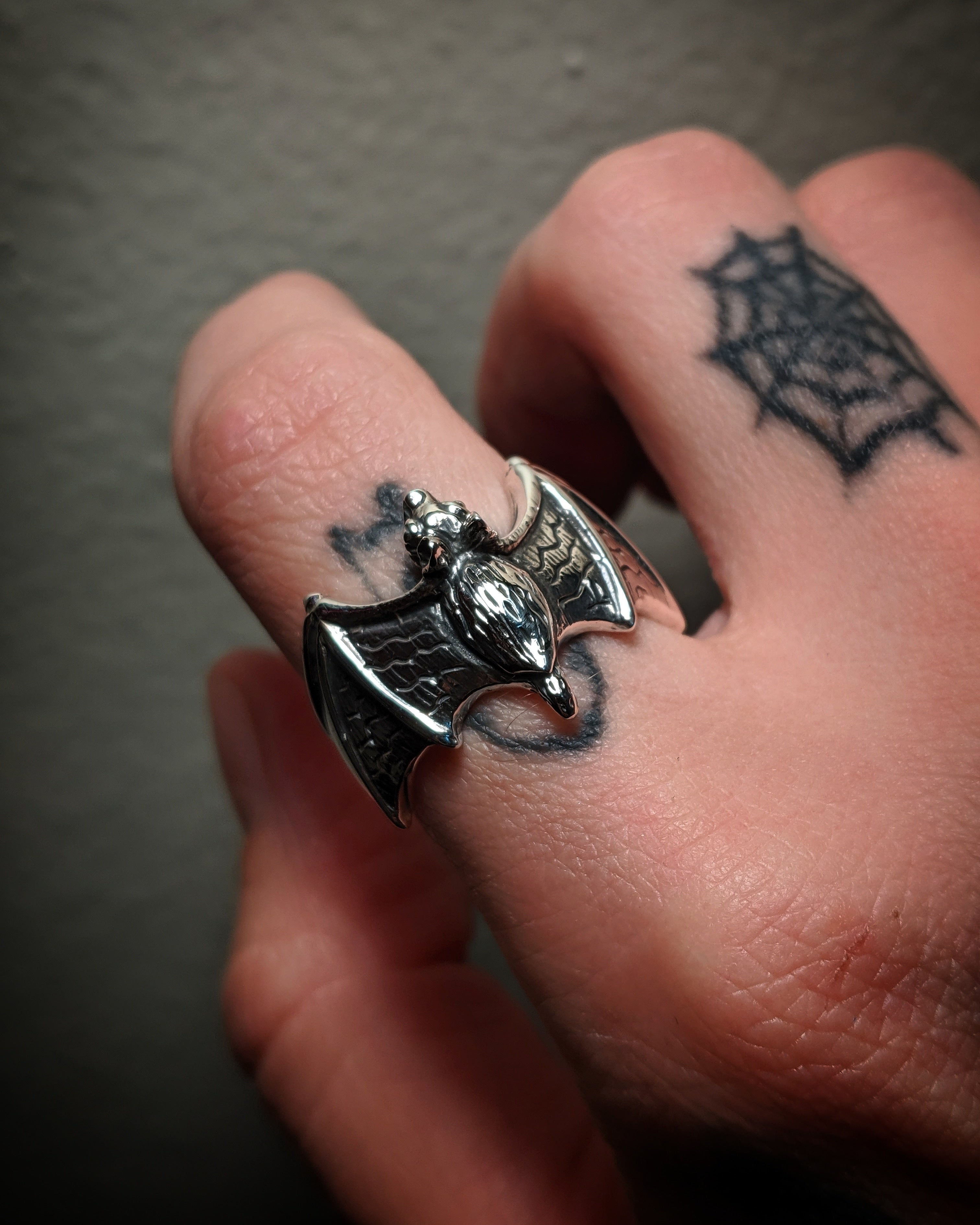 Bat Sterling Silver Ring
