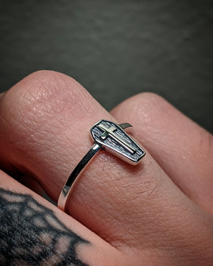 Coffin Cross Sterling Silver Small Band Ring