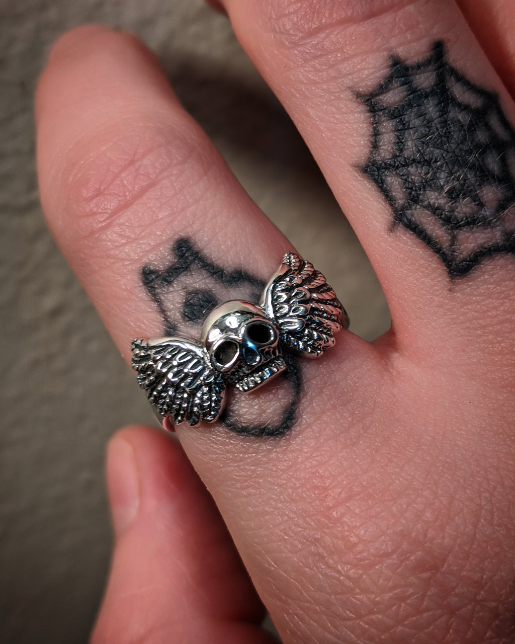 Skull With Wings Sterling Silver Ring