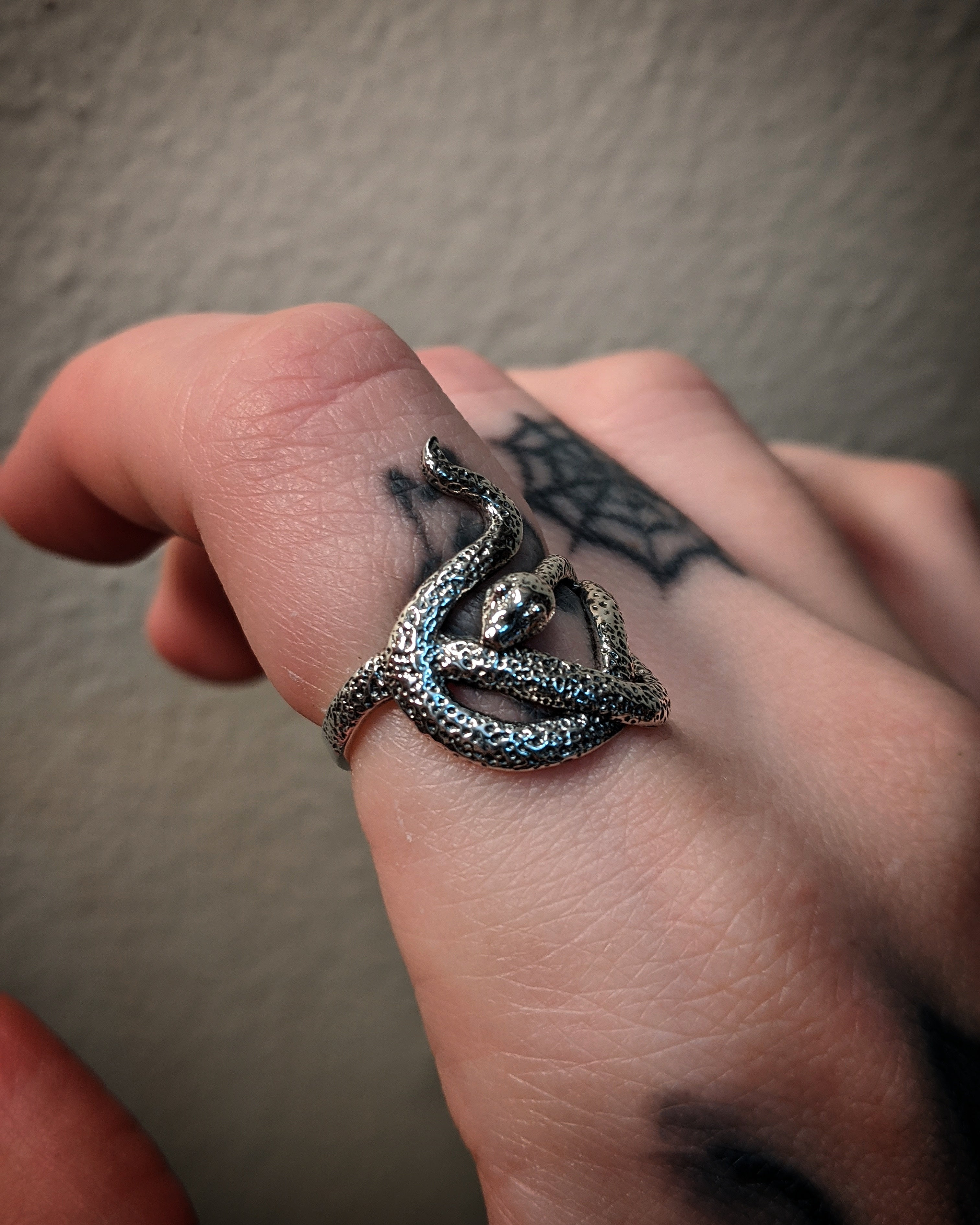 Slithering Textured Snake Sterling Silver Ring