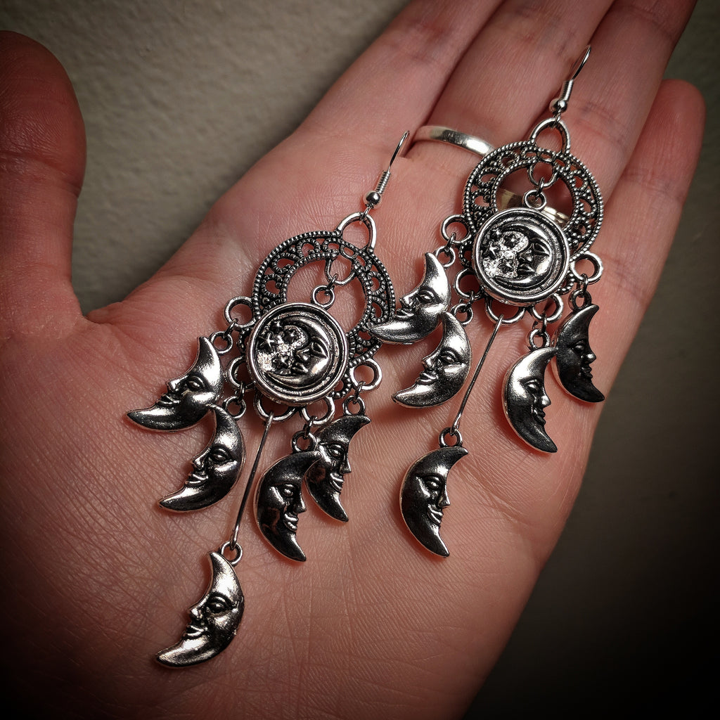 Abstract Chandelier Dangle Mixed Metal Dreamcatcher Crescent Star Moon Earrings With Surgical Stainless Steel Ear Hooks