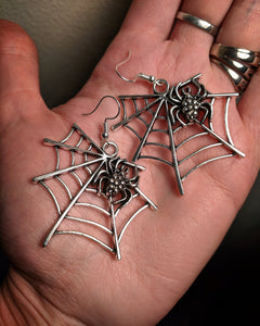 Dramatic Spider Web Mixed Metal Earrings With Surgical Stainless Steel Ear Hooks
