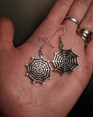 Spider On Web Dramatic Mixed Metal Earrings With Surgical Stainless Steel Ear Hooks