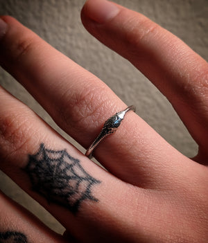 Detailed Ouroborus Snake Sterling Silver Stacking Ring