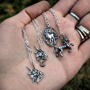 Sterling Silver Vintage Casted Galloping Unicorn Pendant With 22 INCH Sterling Silver Chain