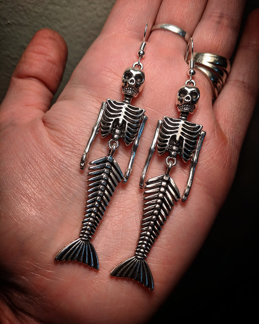 Skeleton Mermaid Statement Earrings With Surgical Stainless Steel Ear Hooks