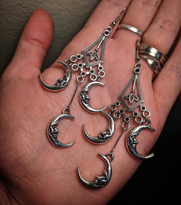 Silver Colored Metal Dreamcatcher Crescent Moon Feather Dangle Earrings With Surgical Stainless Steel Ear Hooks