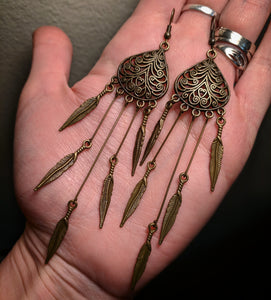 Super Long Dramatic Bronze Brass Colored Dreamcatcher Feather Earrings Version 2 With Surgical Stainless Steel Ear Hooks