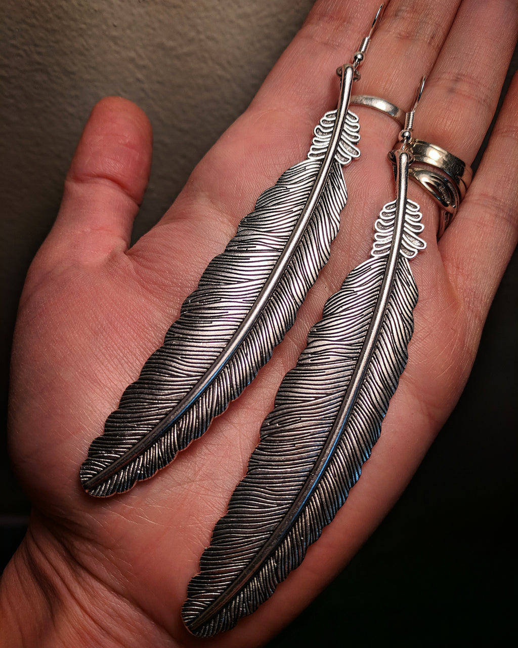 Dramatic Statement Silver Colored Large Feather Earrings With Surgical Stainless Steel Ear Hooks