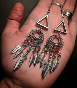 Triangle Dreamcatcher Feather Dangle Metal Earrings With Surgical Stainless Steel Ear Hooks