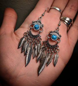 Faux Blue Turquoise Dreamcatcher Dangle Chandelier Earrings With Surgical Stainless Steel Ear Hooks