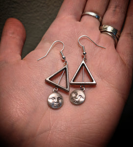 Silver Colored Man On The Moon Triangle Earrings With Surgical Stainless Steel Ear Hooks