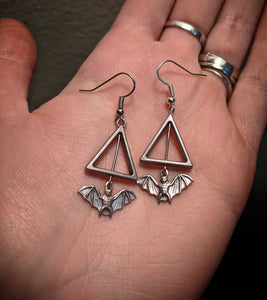 Silver Colored Bat Triangle Earrings With Surgical Stainless Steel Ear Hooks