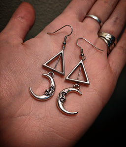 Silver Colored Crescent Man On The Moon Triangle Earrings With Surgical Stainless Steel Ear Hooks