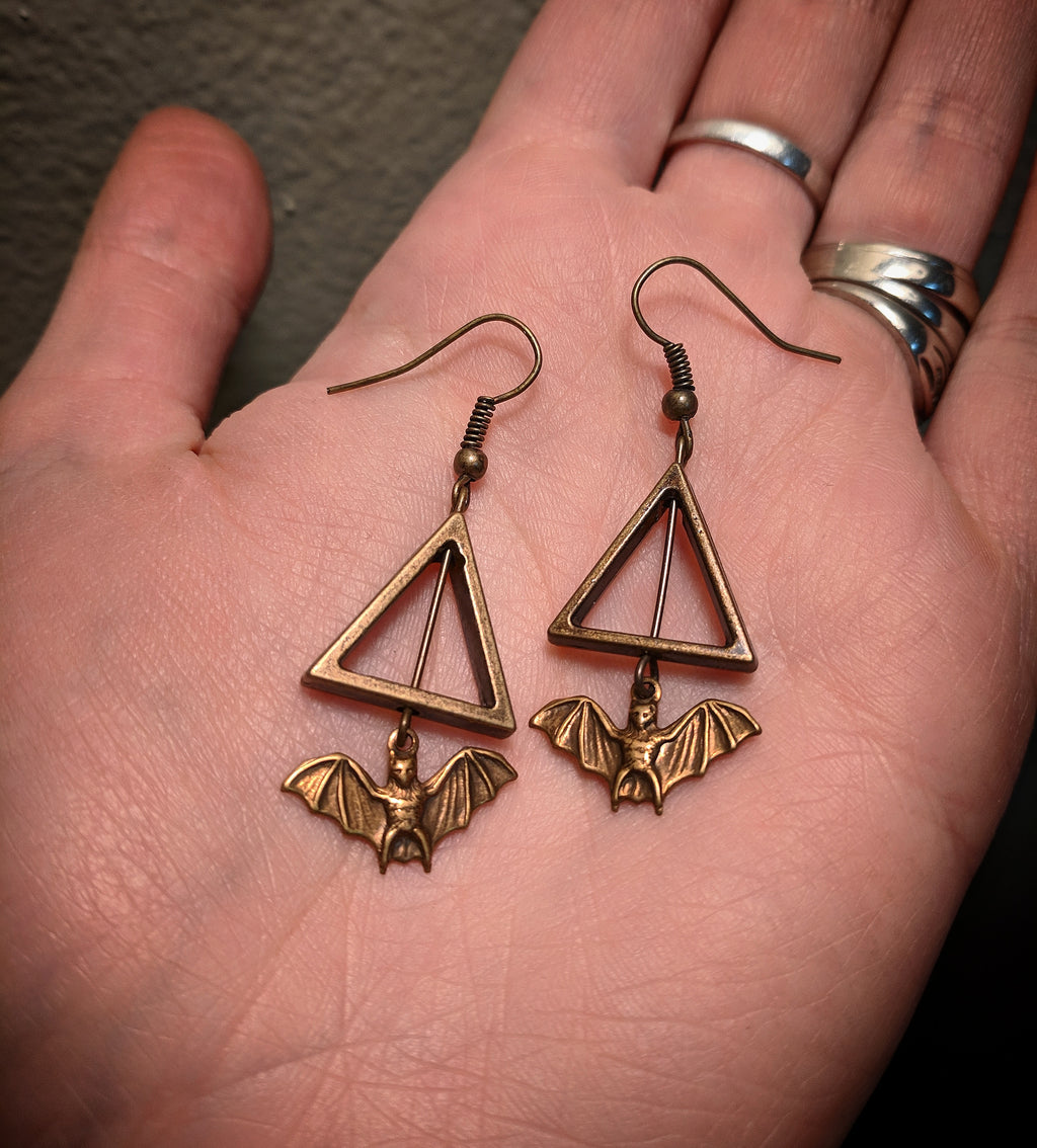 Bronze Bat Triangle Earrings With Surgical Stainless Steel Ear Hooks