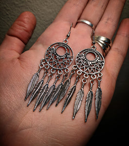Slim Feather Statement Dreamcatcher Earrings With Surgical Stainless Steel Ear Hooks