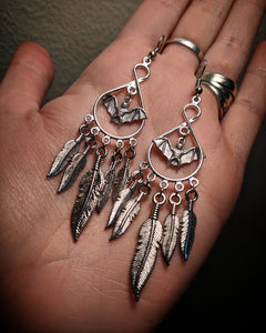 Chandelier Dangle Mixed Metal Dreamcatcher Feather Silver Colored Bat Earrings With Surgical Stainless Steel Ear Hooks