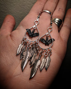 Chandelier Dangle Mixed Metal Dreamcatcher Feather Black Bat Earrings With Surgical Stainless Steel Ear Hooks