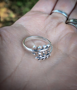 Adjustable Vine Fern Sterling Silver Stacking Ring Fits Sizes 6 - 9