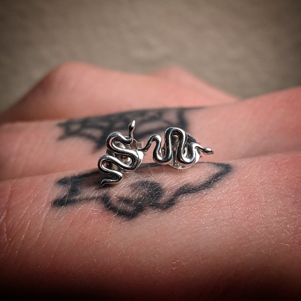 Mini Sterling Silver Snake Post Earrings