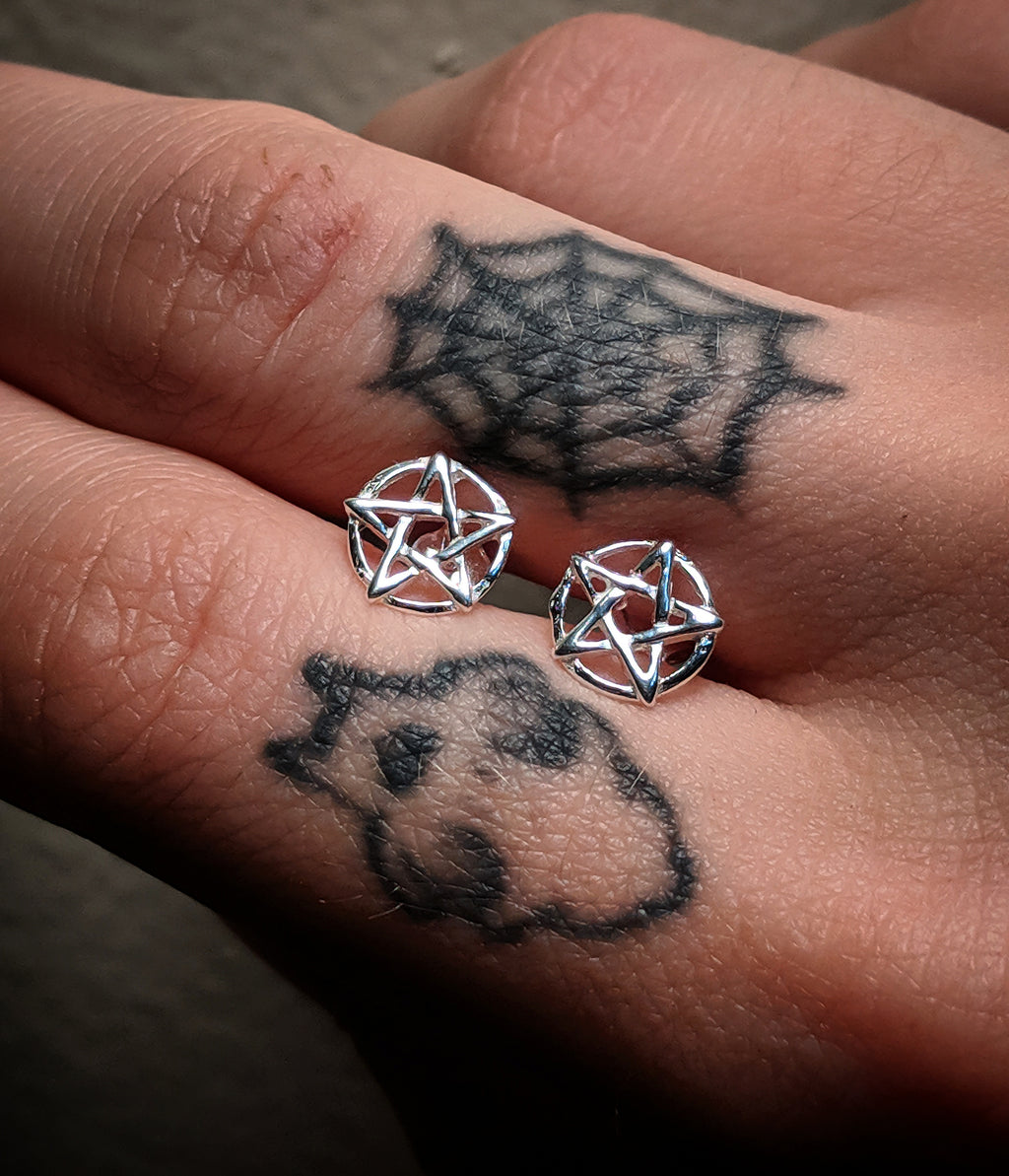 Mini Sterling Silver Star Pentagram Post Earrings