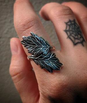 Statement Double Leaf Sterling Silver Ring