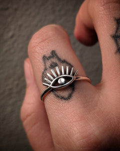 Extra Long Eyelash Eye Sterling Silver Ring