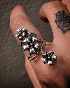 Cascading Multiple Flower Sterling Silver Ring