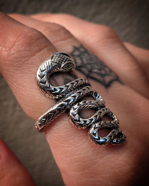 Statement Textured Snake Sterling Silver Ring