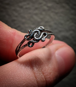 Twisted Snake Sterling Silver Textured Ring