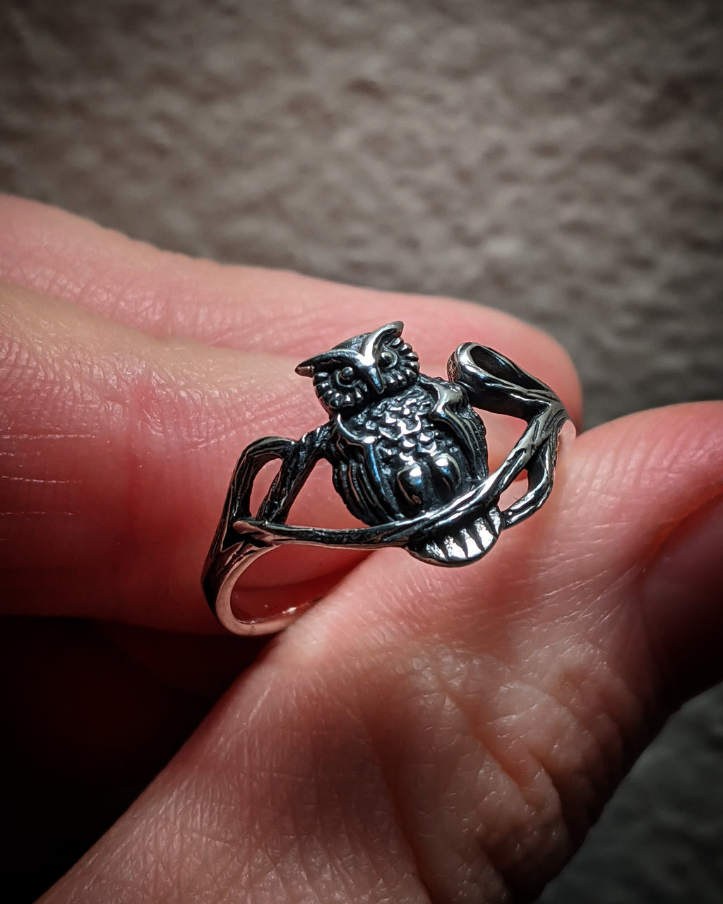 Whimsical Owl On Branches Sterling Silver Ring