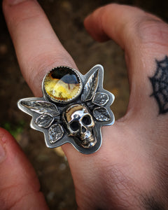 Amber With Casted Human Skull And Leaves Border Size 8.5